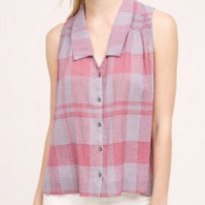 Anthropologie Holding Horses Plaid Swing Tank